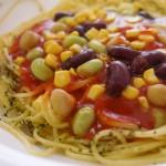 ポプラ女子力アップレシピ_健康的!お豆たっぷりトマトソースパスタ
